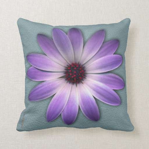 Purple Daisy on Aqua Blue Leather Texture Pillow