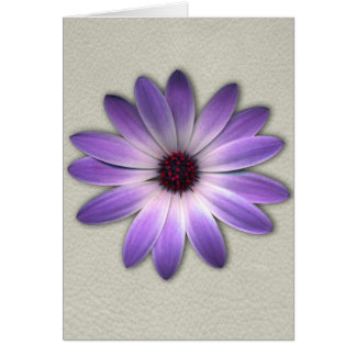 Purple Daisy on Stone Leather Print Greeting Card