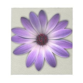 Purple Daisy on Stone Leather Print Notepad