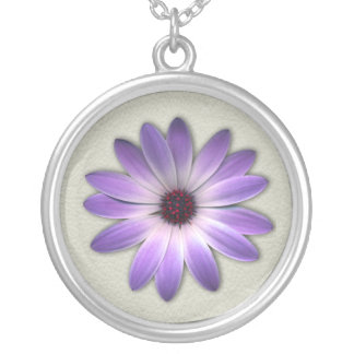 Purple Daisy on Stone Leather Print Silver Plated Necklace
