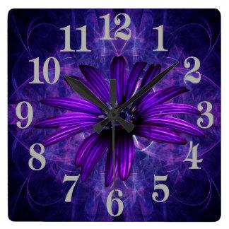 Purple Daisy Passion Square Wallclocks