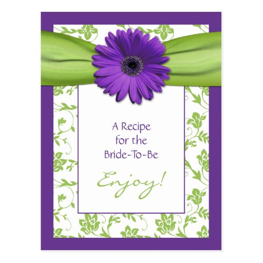 Purple Daisy Recipe Card for the Bride to Be Postcard