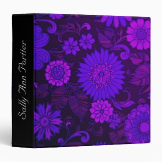 Purple Daisy Retro Print Custom Binder