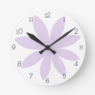 Purple Daisy Round Clock
