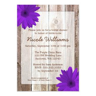 Purple Daisy Rustic Barn Wood Bridal Shower 5x7 Paper Invitation Card