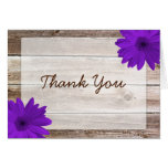 Purple Daisy Rustic Barn Wood Thank You Cards