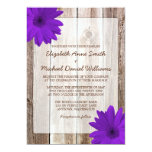Purple Daisy Rustic Barn Wood Wedding Invites