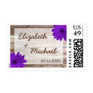 Purple Daisy Rustic Barn Wood Wedding Stamp