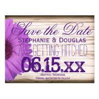 Purple Daisy Rustic Wood Save the Date Postcards (<em>$1.00</em>)