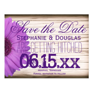 Purple Daisy Rustic Wood Save the Date Postcards