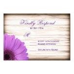 Purple Daisy Rustic Wood Wedding RSVP Cards