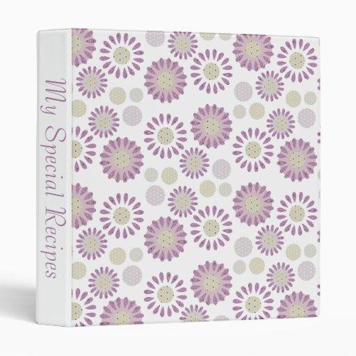 Daisy Kitchen Decor: Purple Daisy & Tiny Polka Dots Kitchen Decor 3 Ring Binder