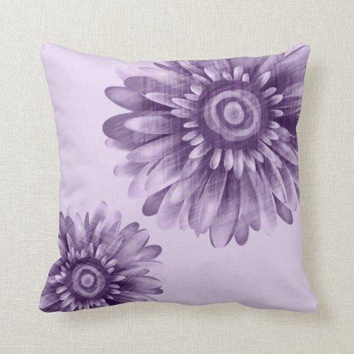 Purple Daisy Vintage Throw Pillows