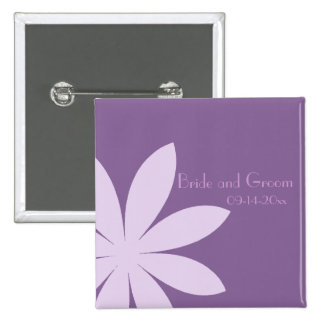 Purple Daisy Wedding Button