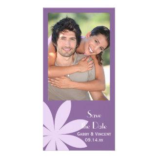 Purple Daisy Wedding Save the Date Photo Card