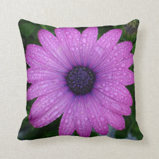 Purple Daisy with Raindrops Throw Pillow