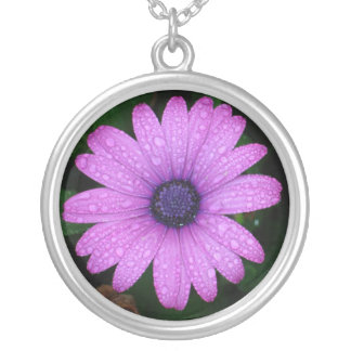 Purple Daisy with Raindrops Round Pendant Necklace