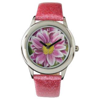 Purple daisy wristwatch