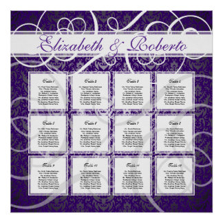 Purple Damask 12 Table Wedding Seating Plan Chart