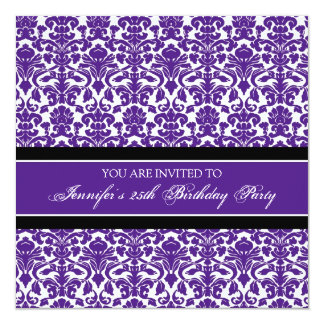 Purple Damask 25th Birthday Party Invitations