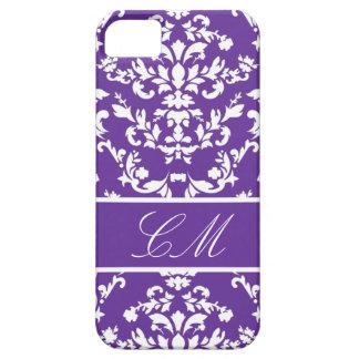 Purple Damask #3 @ Vintage Marie with Monogram iPhone 5 Case