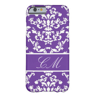 Purple Damask #3 @ Vintage Marie with Monogram Barely There iPhone 6 Case