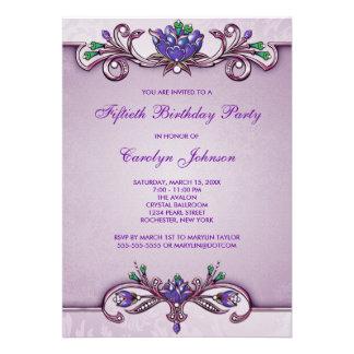 Purple Damask 50th Birthday Party Invitation