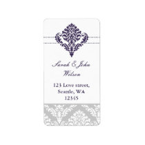 purple damask address labels