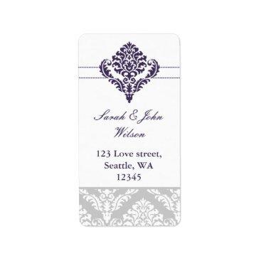 purple damask address labels