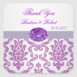 Purple Damask, amethyst picture Thank You Sticker