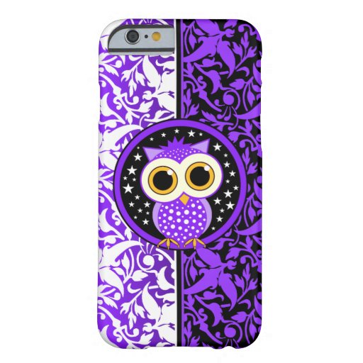 purple damask and cute owl iPhone 6 case