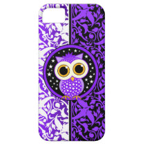 purple damask and cute owl iPhone SE/5/5s case