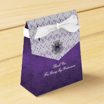 Purple Damask and lace Wedding Favor Gift Box