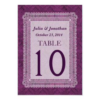 Purple Damask and Lace Wedding Table Number 10 Card
