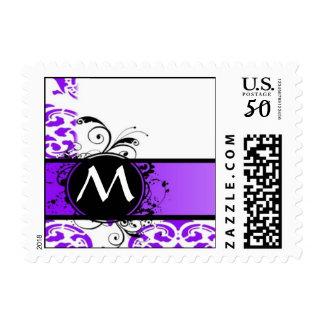 Purple damask and monogram postage