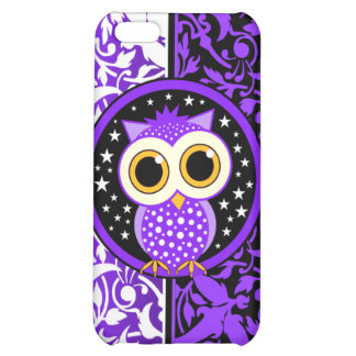 purple damask and owl iPhone 5C case