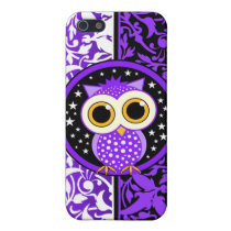 purple damask and owl iPhone SE/5/5s case