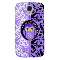purple damask and owl samsung galaxy s4 cover
