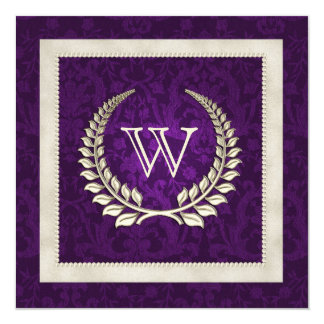 Purple damask and Pearls wedding vow renewal Card