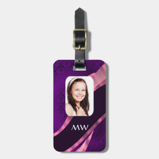 Purple damask and personalized photo bag tag