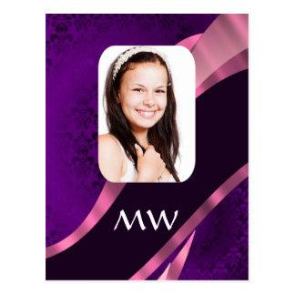 Purple damask and personalized photo postcard
