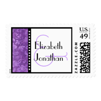 Purple Damask and Polka Dots Bride Groom Wedding Postage
