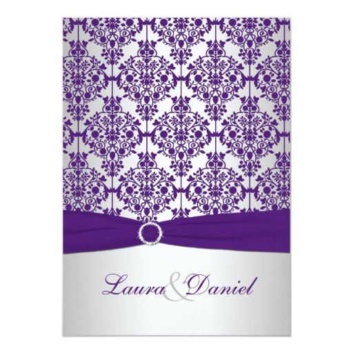 "Silver And Purple Blank Invitations: Purple Damask And Silver Wedding Invitation 5"" X 7"