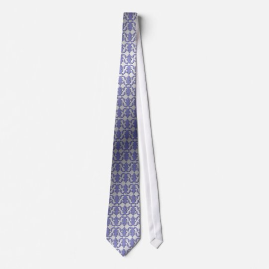 Purple Damask and Steel Tie