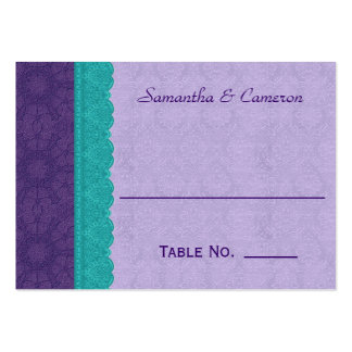Purple Damask and Teal Lace Table Place Card V2B Large Business Card