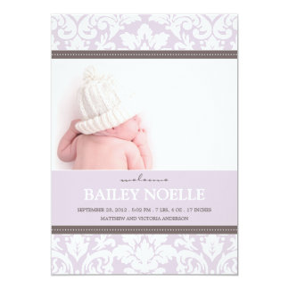 PURPLE DAMASK BABY | BIRTH ANNOUNCEMENT