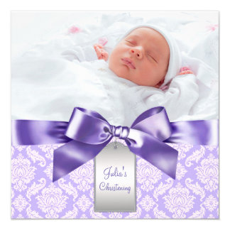 Purple Damask Baby Girl Photo Baptism Christening 5.25x5.25 Square Paper Invitation Card