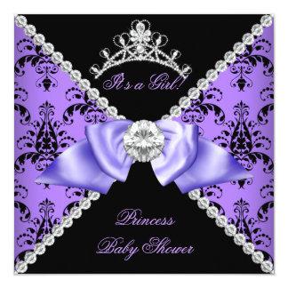 Purple Damask Baby Shower Girl Princess Diamond Card