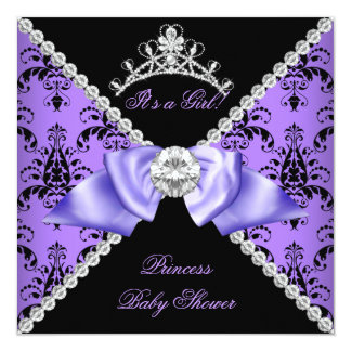 Purple Damask Baby Shower Girl Princess Diamond Invitation