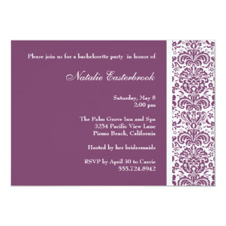 Purple Damask Bachelorette Party Invitation